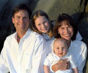 Familie in Bademänteln